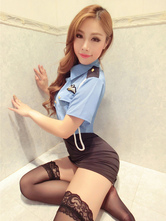 Anime Costumes AF-S2-654909 Sexy Cop Costume Halloween Blue Top With Skirt Policewoman Costume