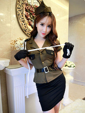 Anime Costumes AF-S2-654865 Sexy Cop Costume Women's Hunter Green Outfit Halloween Policewoman Costume