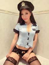 Anime Costumes AF-S2-654913 Sexy Cop Costume Halloween Blue Policewoman Costume