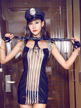 Anime Costumes AF-S2-654927 Sexy Cop Costumes Halloween Black Sheer Bodycon Mini Dress Outfits