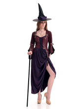 Anime Costumes AF-S2-654801 Halloween Costume Women's Demon Witch Cosplay Mardi Gras Purple Long Sleeve High Split Dress And Hat