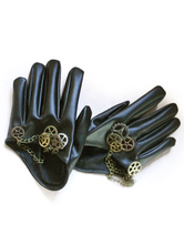 Anime Costumes AF-S2-654841 Black Steampunk Gloves Unisex PU Gears Vintage Gloves