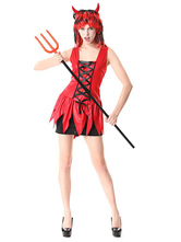 Anime Costumes AF-S2-654789 Halloween Demon Costume Women's Mardi Gras Cosplay Red Sleeveless Mini Dress