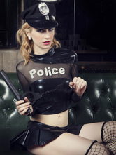 Anime Costumes AF-S2-654925 Halloween Sexy Cop Costume Black Policewoman Costume In 7 Piece Set
