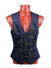 Anime Costumes AF-S2-654831 Steampunk Suit Vest Halloween Vintage Costume Men's Waistcoat Retro Blue Jacquard Vest Jacket