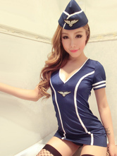 Anime Costumes AF-S2-654895 Halloween Sexy Cop Costume Blue Bodycon Mini Dress Policewoman Costume