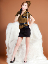 Anime Costumes AF-S2-654883 Sexy Cop Costume Hunter Green Short Skirt Outfit Policewoman Costume