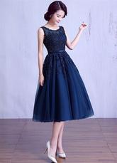 Тюль выпускного вечера платье темно флота бисером Выпускные платье кружева аппликация Sash A линии чай длина матери платье