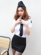 Anime Costumes AF-S2-654905 Halloween Sexy Cop Costume White Policewoman Costume In 4 Piece Set