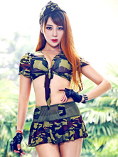 Anime Costumes AF-S2-654921 Sexy Cop Costume Hunter Green Camo Crop Top With Mini Skirt In 7 Piece Set
