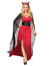 Anime Costumes AF-S2-654797 Halloween Costume Demon Women's Cosplay Red Split Dress Mardi Gras Costume Outfit