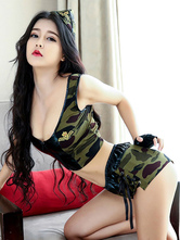 Anime Costumes AF-S2-654889 Halloween Sexy Cop Costume Hunter Green Camo Printed Crop Top With Shorts In 4 Piece Set