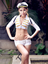 Anime Costumes AF-S2-654885 Halloween Sexy Cop Costume White Crop Top With Shorts In 4 Piece Set