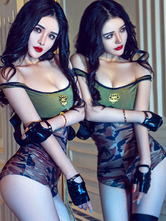 Anime Costumes AF-S2-654923 Sexy Cop Costume Camo Hunter Green Slim Fit Jumpsuit In 5 Piece Set