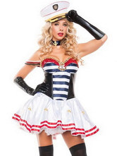 Anime Costumes AF-S2-654969 Sexy Cop Costume Outfits White Stripe Strapless Fit And Flare Dress