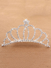 Anime Costumes AF-S2-654811 Ballet Dance Tiara Silver Princess Hair Comb Beaded Party Hair Accessories For Kids
