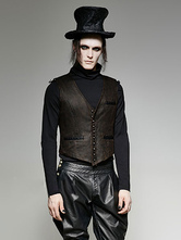Anime Costumes AF-S2-654835 Men's Steampunk Gilet Brown Buckle Button Vintage Waistcoat