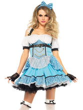 Anime Costumes AF-S2-654971 Sexy French Maid Costume Blue Off The Shoulder Halter Cross Back Flare Dress Outfits