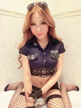 Anime Costumes AF-S2-654891 Sexy Cop Costume Black Halloween Policewoman Costume In 7 Piece Set