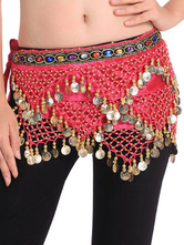 Anime Costumes AF-S2-655181 Belly Dance Hip Scarf Red Tiered Tassels Waist Chains Women's Belly Dance Costume Accessories