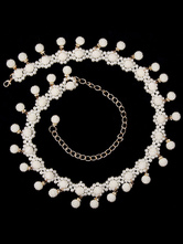 Anime Costumes AF-S2-655193 Belly Dance Waist Chains White Pearls Hip Scarf Jewelry Women's Belly Dance Costume Accessories