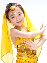Anime Costumes AF-S2-655255 Belly Dance Veil Costume Kid's Yellow Pendent Headpiece Bollywood Dance Accessory