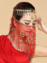 Anime Costumes AF-S2-655171 Belly Dance Face Veil Red Voile Flowes Tassels Women's Belly Dancing Costume Accessories