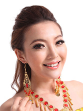 Anime Costumes AF-S2-655209 Earrings Belly Dance Costume Gold Alloy Rhinestone Bollywood Dance Jewelry Accessories