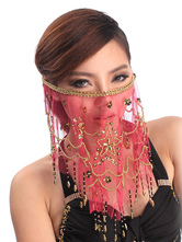 Anime Costumes AF-S2-655225 Veil Belly Dance Costume Red Beaded Bollywood Dance Accessories