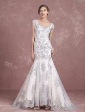 Silver Wedding Dress Mermaid Bridal Dress Lace Applique Bridal Gown Sheer Back Sleeveless Button Scoop Court Train Bridal Dress Milanoo