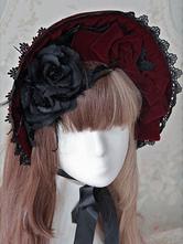 Sweet Lolita Cap Red Velvet Lace Bow Flower Lolita Hat