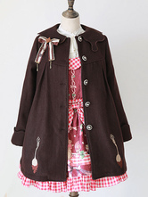 Lolitashow Sweet Lolita manteau brun chocolat de Spoonfork Lolita pardessus