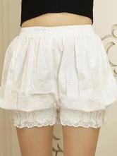 Lolitashow White Lolita Bloomers Lace Trim Elastic Plus Size Lolita Safety Pants