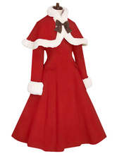 Lolitashow Red Lolita Coat Fur Trim Bow Sweet Lolita Wool Overcoat With Cape