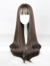 Sweet Lolita Wigs Long Straight Grey Synthetic Lolita Wig With Blunt Fringe