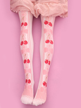 Lolitashow Sweet Lolita Stockings Pink Velvet Cherry Printed Lolita Knee High Socks