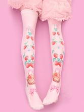 Lolita doce meias veludo rosa morango Lolita impresso meias até ao joelho alto