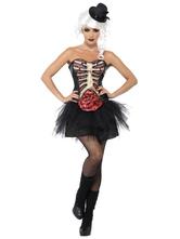 Anime Costumes AF-S2-657305 Sugar Skull Costume Halloween Women's Flower Skeleton Ruched Dress