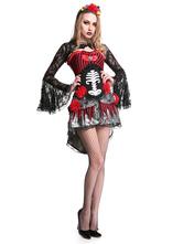 Anime Costumes AF-S2-657293 Halloween Sugar Skull Costume Black Dress Skeleton Costume