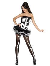 Anime Costumes AF-S2-657307 Halloween Sugar Skull Costume Women's Black Strapless Skeleton Ruched Dress