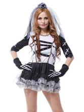 Anime Costumes AF-S2-657311 Halloween Sugar Skull Costume Women's Skeleton Ghost Bridal Mini Dress With Veil