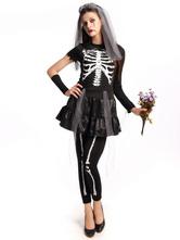 Anime Costumes AF-S2-657299 Halloween Sugar Skull Costume Women's Black Skeleton Costume In 4 Piece Set