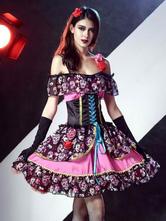 Anime Costumes AF-S2-657325 Sugar Skull Costume Halloween Women's Floral Skeleton Vampire Bridal Dress Outfit