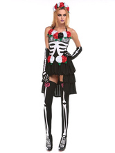 Anime Costumes AF-S2-657317 Sugar Skull Costume Halloween Women's Flower Skeleton High Low Dress Outfit