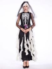 Anime Costumes AF-S2-657323 Halloween Sugar Skull Costume Women's Skeleton Ghost Bridal Dress With Veil