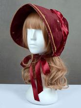 Lolitashow Sweet Lolita Cap Swan Lake Burgundy Ribbon Bow Lolita Hat