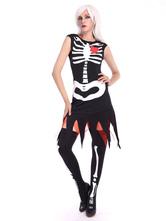Anime Costumes AF-S2-657297 Halloween Sugar Skull Costume Women's Black Skeleton Dress With Knee High Socks