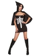Anime Costumes AF-S2-657295 Halloween Sugar Skull Costume Black Strapless Sleeveless Skeleton Mini Dress With Cape For Women