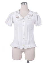 Lolitashow Sweet Lolita Shirts White Chiffon Short Sleeve Ruffle Lolita Blouse Top