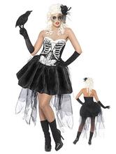 Anime Costumes AF-S2-657321 Sugar Skull Costume Halloween Women's Skeleton Costume Bridal Skater Dress Outfit